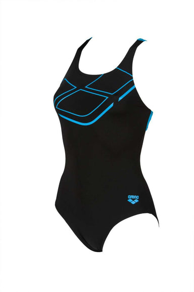 W Essentials Swim Pro Back One Piece Zwart - Turqouise | Zwemmershop