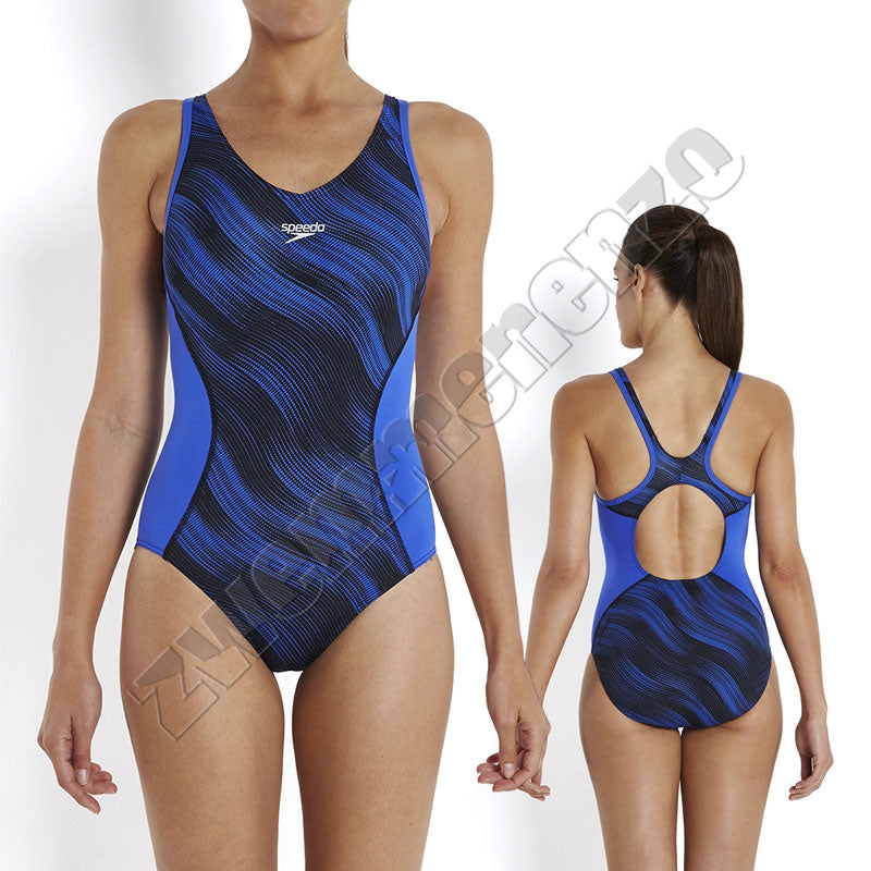 Speedo Fit Splice Muscleback Black/ deep peri