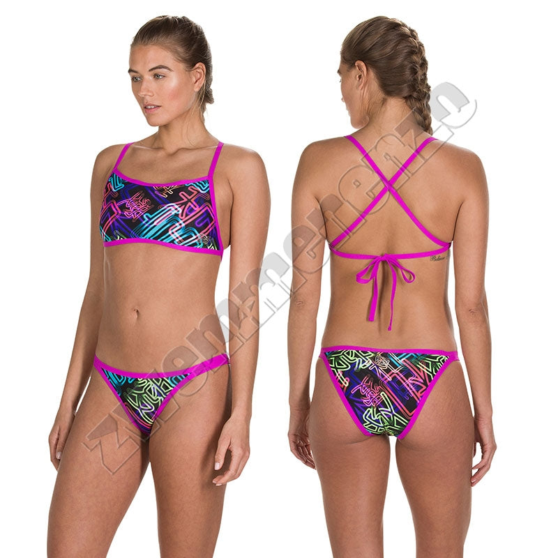 Speedo Kanji Neon Cross Tieback bikini black-purple