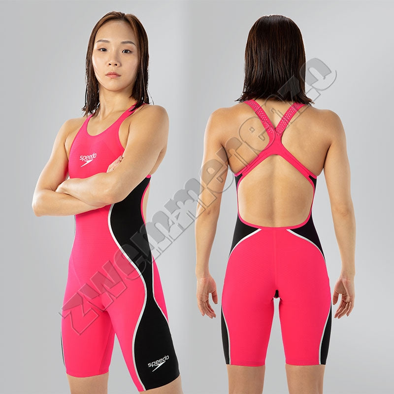 Speedo LZR Pure Intent Openback Kneeskin Red Black