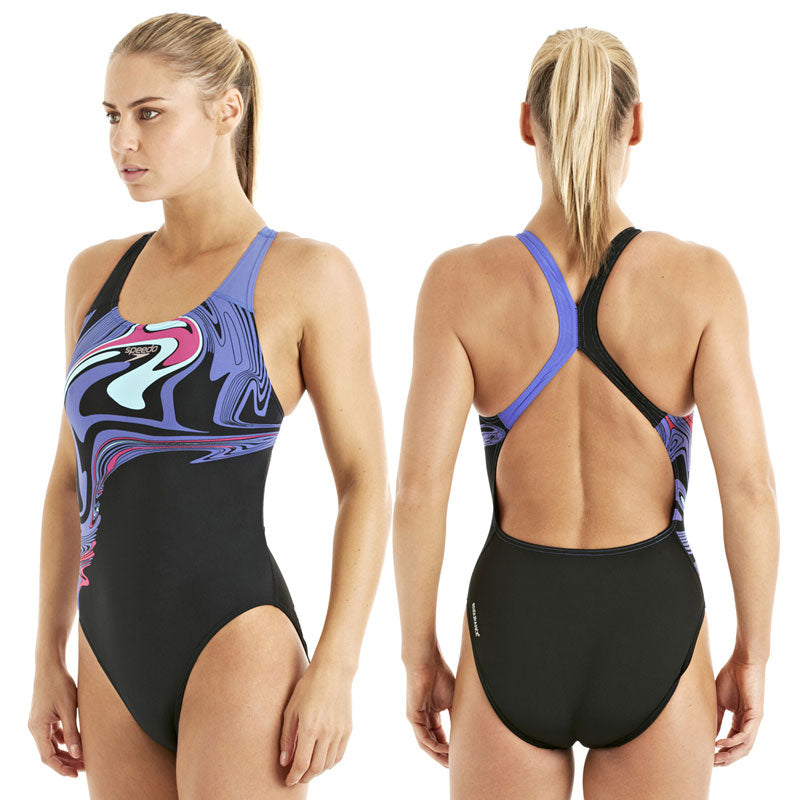 Speedo ArrowBeat Placement Powerback Black/Iris/Rasberry