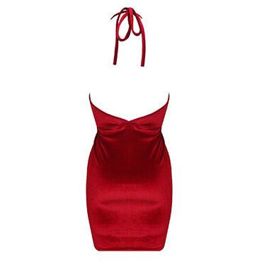 Sian Velvet Mini Dress Red
