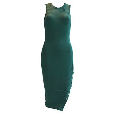Michal Ribbed Bodycon Dress Green