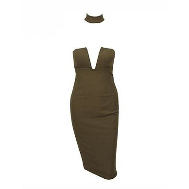 Aris Choker Dress Khaki
