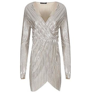 Elari Pleated Dress Silver
