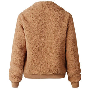 Akele Teddy Fleece Bomber Jacket Toffee
