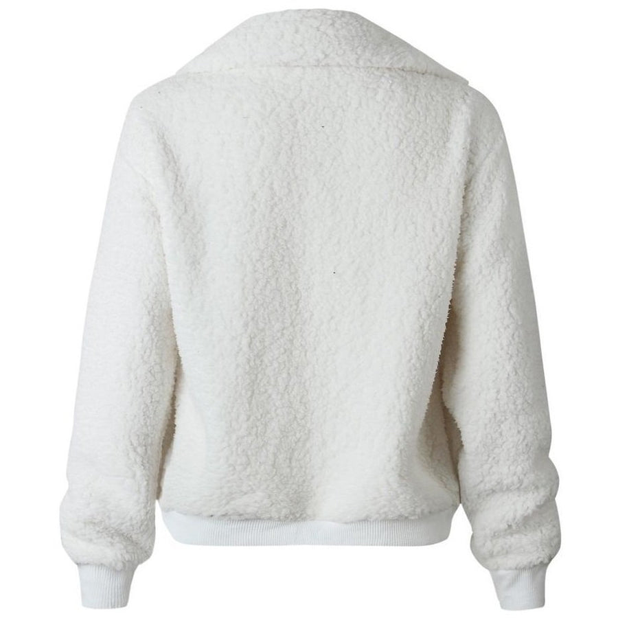 Akele Teddy Fleece Bomber Jacket White