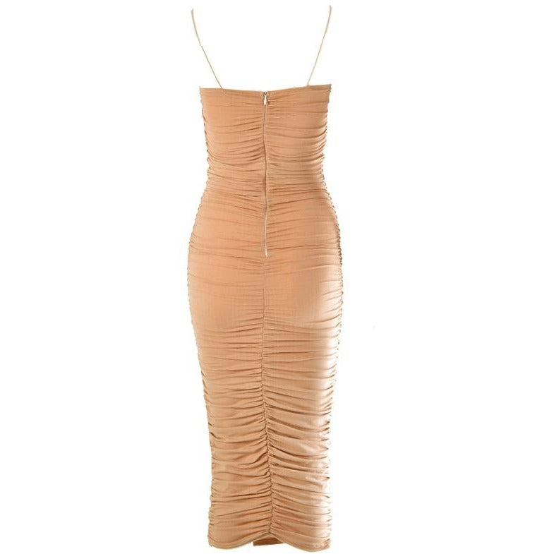 Aliya Ruche Dress Nude