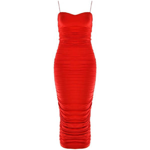 Aliya Ruche Dress Red