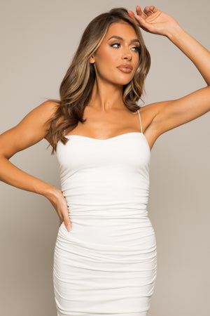 Aliya Ruche Midi Dress White
