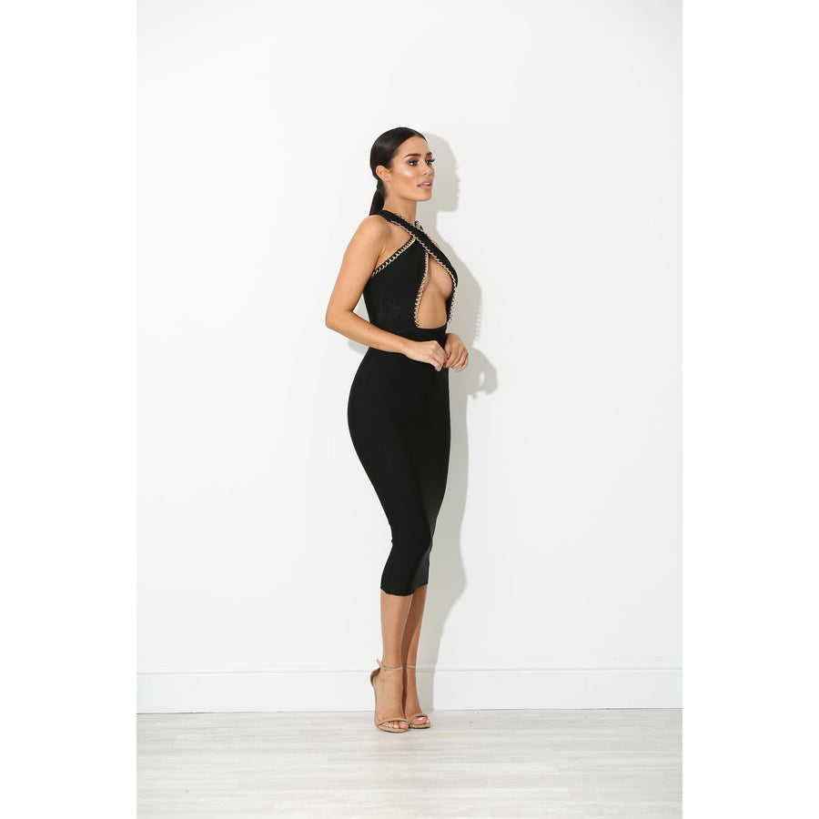 Amara Keyhole Bandage Dress Black