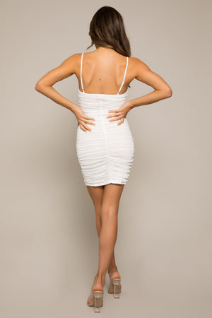 Atila Mesh Ruched Dress White