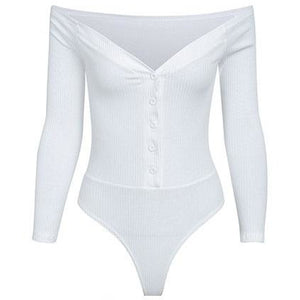 Beatrice Ribbed Bardot Bodysuit White