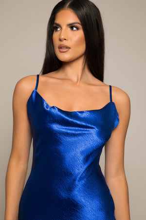Calia Satin Slip Ankle Dress Royal Blue