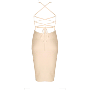 Caprie Backless Bandage Dress Nude