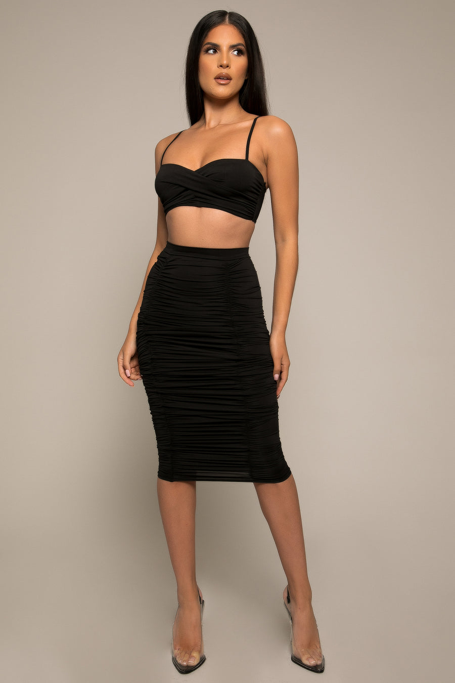 Carena Ruched Longline Midi Skirt Black