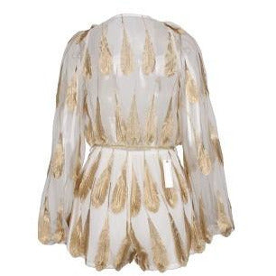 Cerafine Gold Feather Playsuit -White