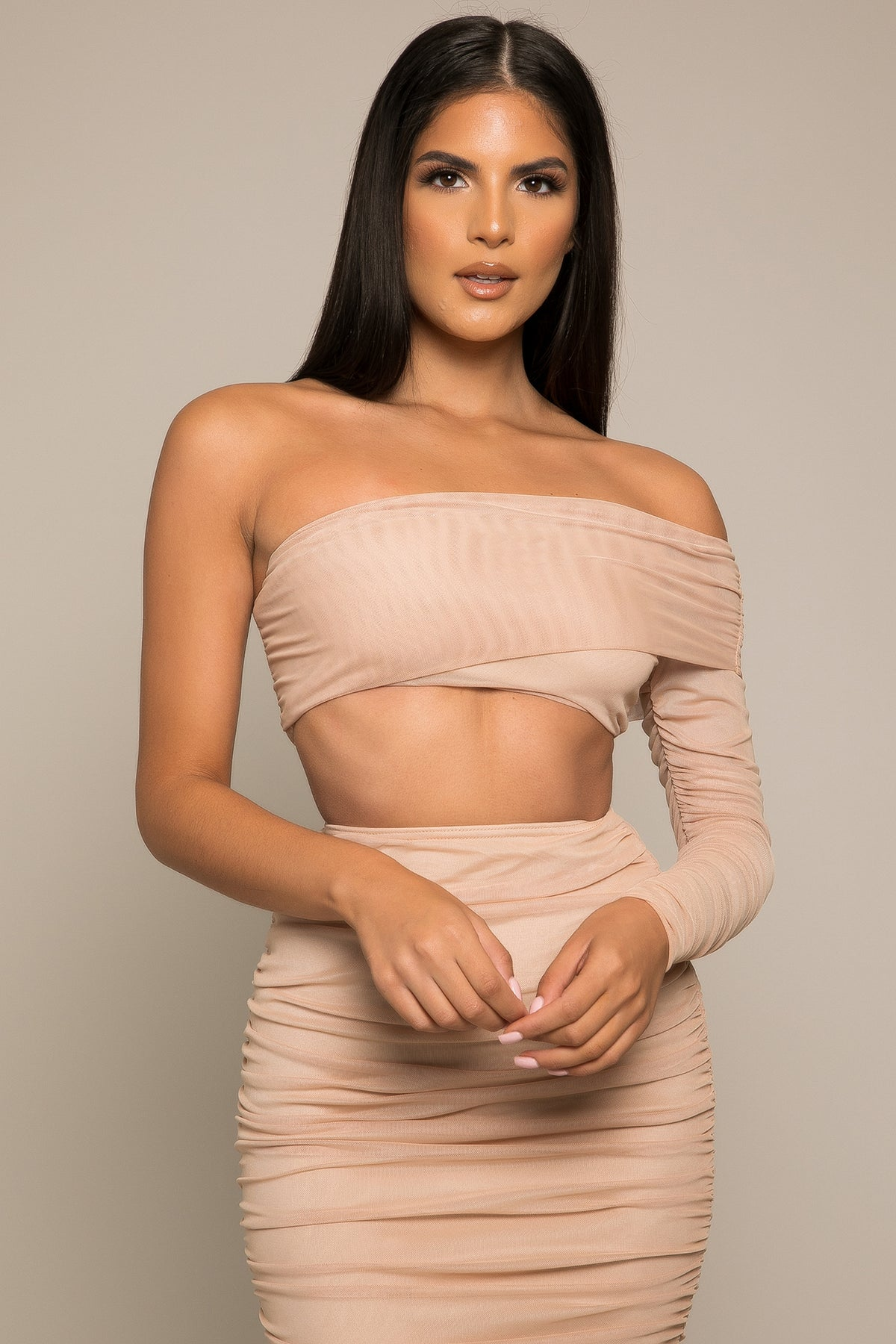 Comina Ruched Mesh Crop Top Camel