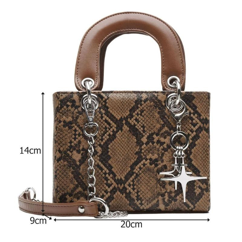 Dallas Micro Snake Print Bag Stone