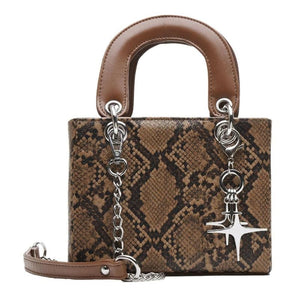 Dallas Micro Snake Print Bag Brown