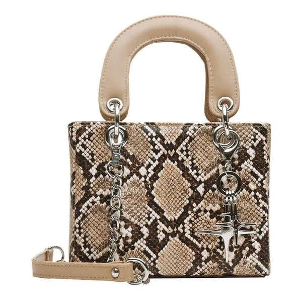 Dallas Micro Snake Print Bag Nude