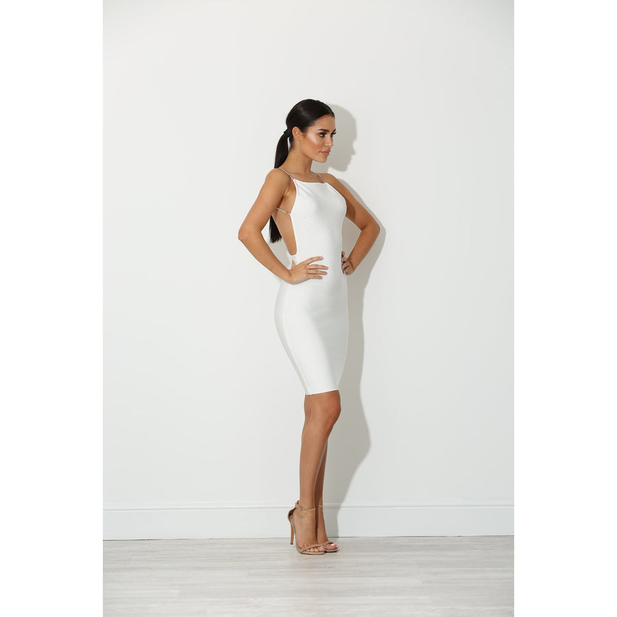 Dina White Backless Bandage Dress