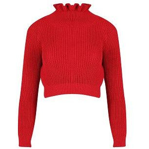 Effie Chunky Red Knit Crop Jumper