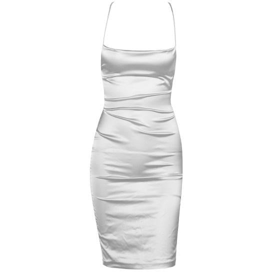Emile Satin Dress Silver Ice