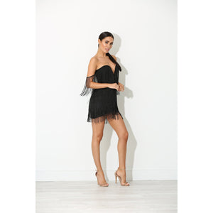 Ellia Black Tassel Dress