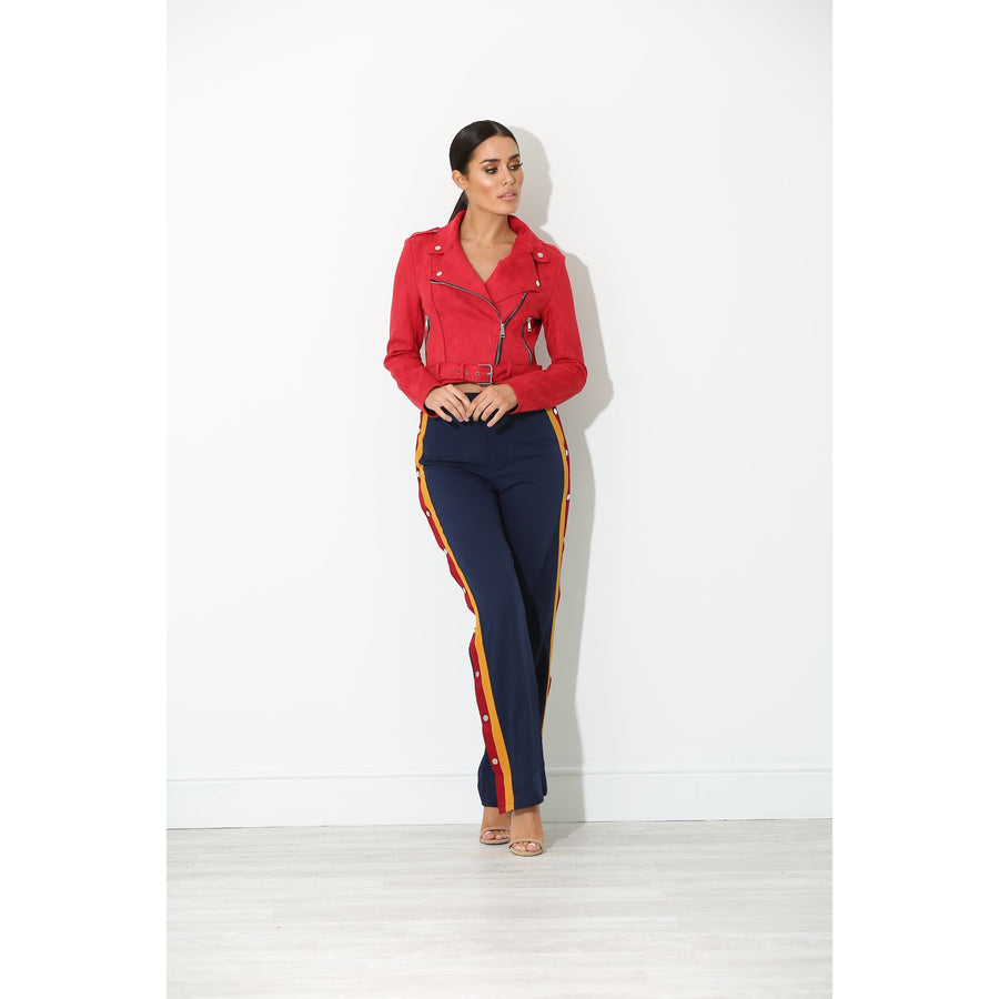 Enessa Red Suede Biker Jacket