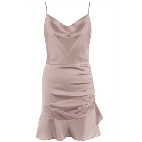 Erica Satin Ruched Mini Dress Stone