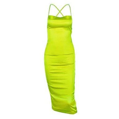 Eserno Satin Dress Neon Green