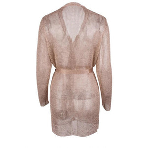 Essie Metallic Knit Cardigan Dress Rose Gold