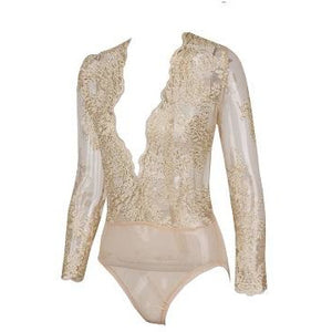 Eva Gold Lace Bodysuit