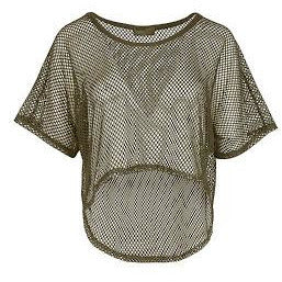 Evelyn Mesh Crop Top Khaki