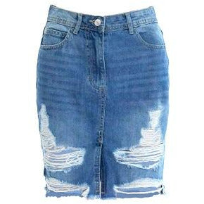 Frieda Distressed Denim Skirt
