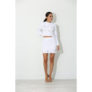 Giana White Knitted Two Piece