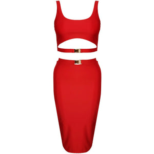 Gillana Two Piece Red