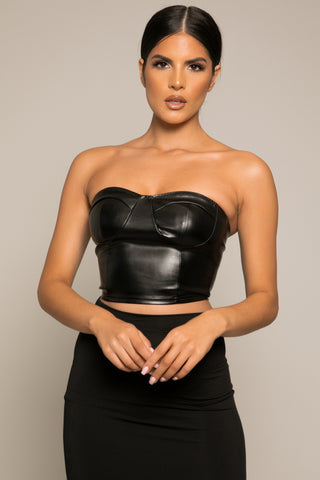 Giovani Leatherette Corset Style Crop Top