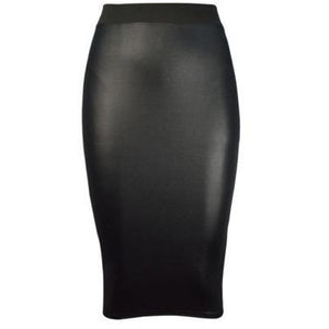 Rachel Wet Look Skirt Black