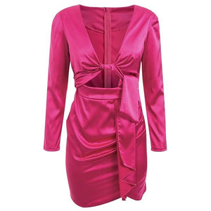 Halina Satin Mini Dress Fuschia
