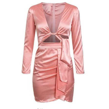 Halina Satin Mini Dress Pink