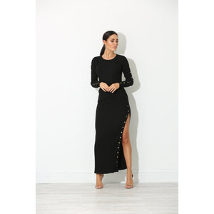 Hana Black Ribbed Bodycon Dress