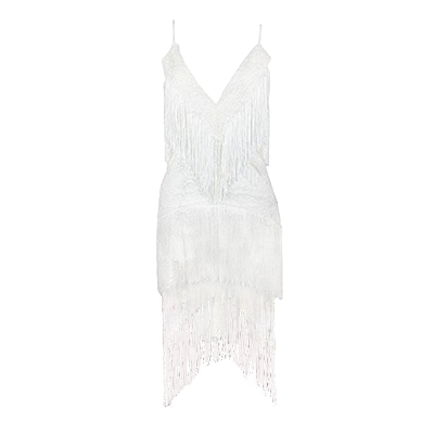 Huda Tassel Dress White
