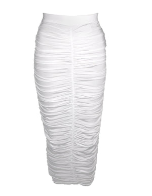 Athera Ruched Midi Skirt White
