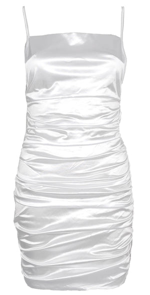 Anera Backless Satin Dress White