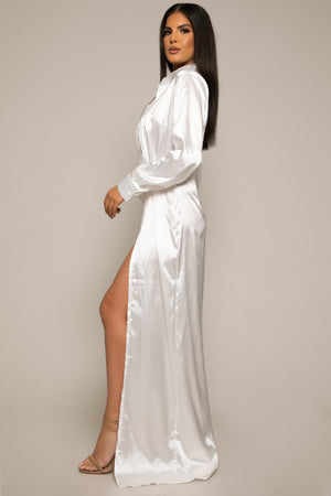 Itani Satin Maxi Shirt Dress White