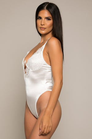 Janiero Wired Satin Bodysuit White