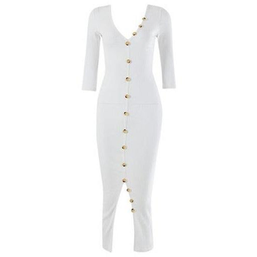 Jetta Ribbed Dress White