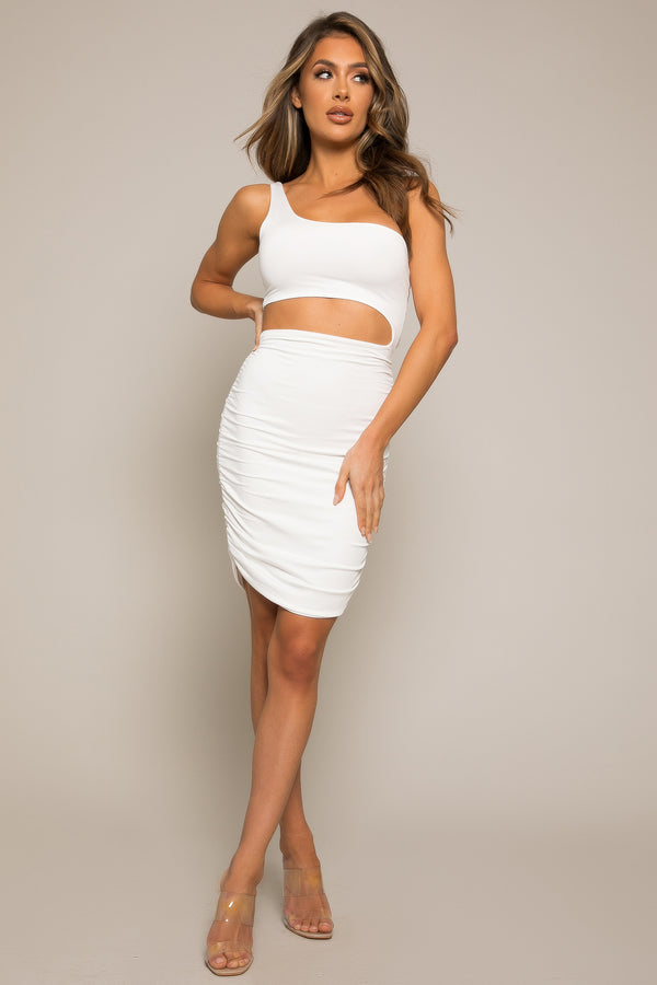Jiselle Ruche Dress White